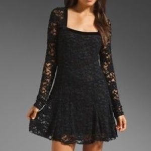 Small Free People Black Lace Dress W/ Velvet Trim
